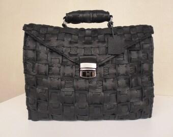 Black Leather Messenger, Briefcase , Backpack,rwoodb,Leather Bag
