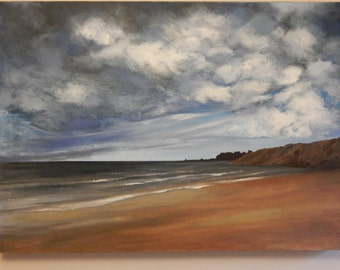 Original oil painting '  Storm over Whitby'