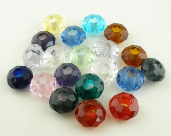 20pcs Crystal Rondelle Euro Beads 14x8mm
