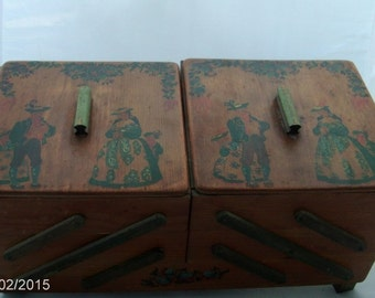 vintage sewing tole painted chest