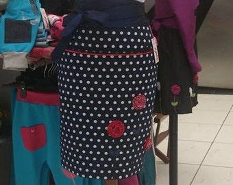 skirt with flowers, black skirt,  women skirt, black formal skirt, black everyday skirt, unique women clothes