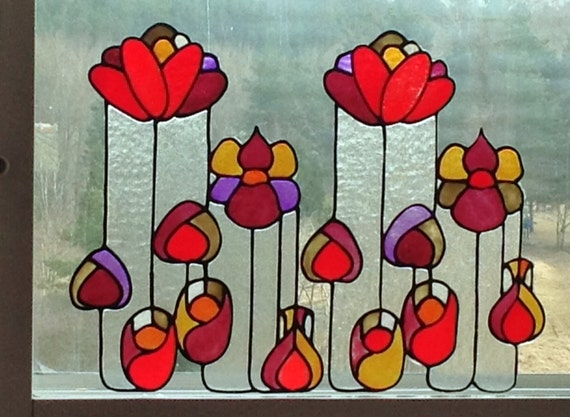 Summer Flowers - a Set of Faux Stained Glass Window Clings, Sun catcher, Handmade Window or Mirror Decoration
