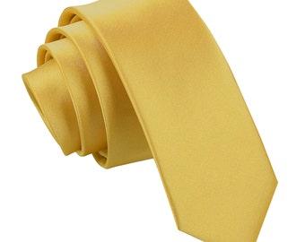 Satin Gold Skinny Tie