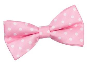 Polka Dot Pink Bow Tie
