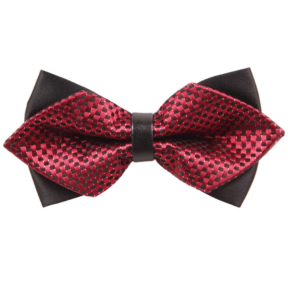 Black Flower Bow With Diamond: Mens Checkered Red & Black Diamond Tip Bow Tie By DQTUK On