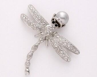 Dragonfly Brooch, Rhinestone Pearl Dragonfly Broach, Dragonfly Bridal Sash Bouquet Brooch, Crystal Silver Dragonfly Brooches