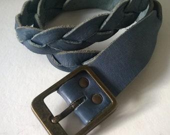 Vintage/Belt/Leather/Braided/Powder Blue/Boho