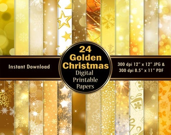Gold Christmas Digital Paper Scrapbook Paper Pack 24 Yellow Printable Christmas Digital Paper Glitter Lights Wrapping DOWNLOAD 12x12 JPG PDF