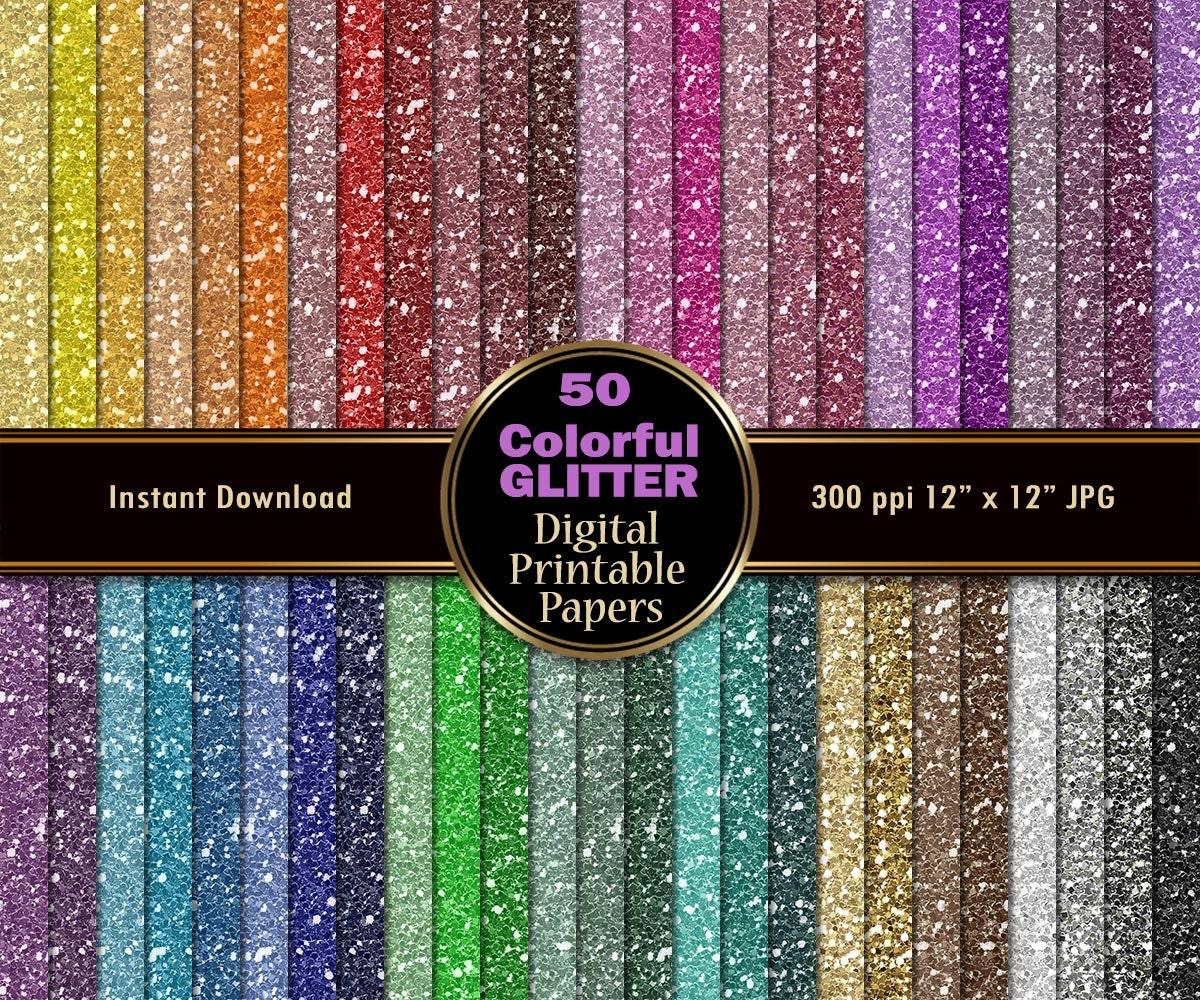 Colorful Glitter Digital Paper Pack 50 Sparkle Digital