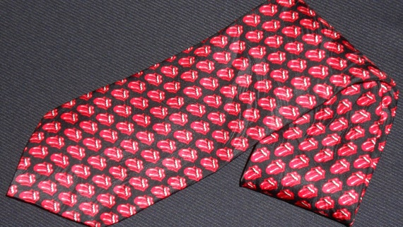 Vintage Rolling Stones Tie Traditional Lips And Tongue Logo 1994 Ralph Marlin Marlin 100% Silk Mens Novelty Necktie RM Style Rock Roll RARE