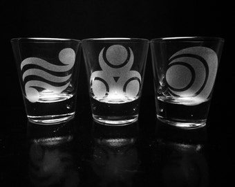 Legend of Zelda Shot Glass Set - Set of 3- Goddess Pearls- Deep Etched