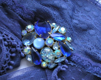 Vintage Crystals Brooch 70s, Free shipping