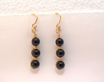 Onyx Wire Wrapped Bead Earrings in 14 KT Gold Filled