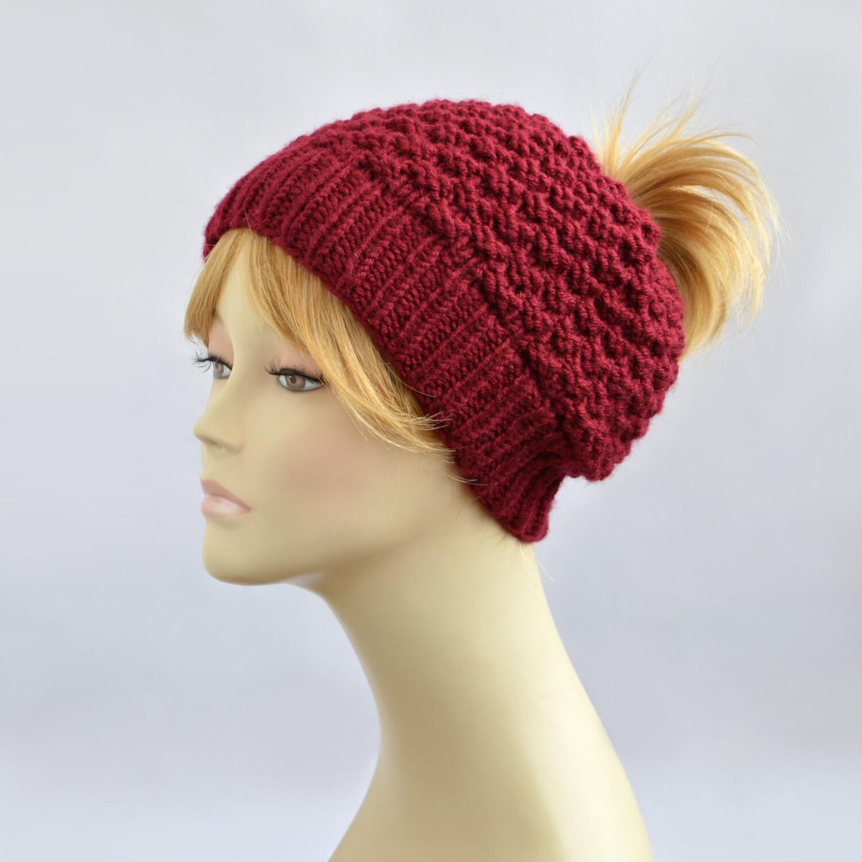 Ponytail Hats Women Knit Hat