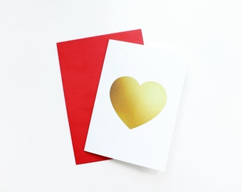 Heart Shape Gold Texture Greeting Card