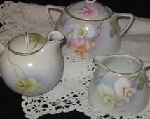 SALE FROM 95.00/Bavaria P.S.A.G. Tea Set Hand Painted /Bavaria Germay China /Hand Painted Floral Bavaria Tea Set