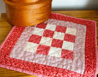 Hand Quilted Table topper Candle Mat Miniature Quilt Antique fabric