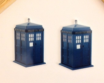 Dr Who Tardis Planar Resin Set of 2 - Dr Who Hair Bow Center - Dr Who Flat Back Resin - Dr Who Tardis Embellishment