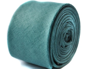 sea green turquoise skinny linen textured tie or pocket square by Frederick Thomas FT1647