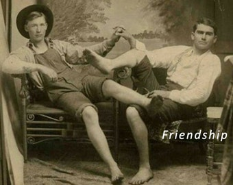 City and Country Boys Vintage Photo, Gay Friendship Cards, Humorous Cards, Vintage Photo Cards   ****VMFR1004