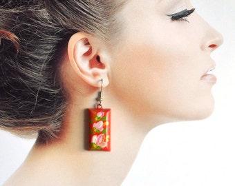 Red earrings gift ideas|for|women red jewelry folklore Dangling Earrings rectangular earrings Red pink flower Earrings handmade Earrings eco