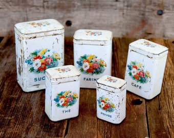 1920s French 5 Tin Nesting Canisters - Shabby Chic White - Free Shipping in the USA