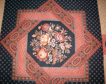 VIP Museum Classics rust and black 1 yard 4 panel plus 1 yard matching rust vintage fabric, roses, floral design,quilt,pillow,wall hanging