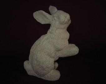 "7"" bunny rabbit figurine w/ bow around neck,molded resin,unpainted"