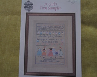 A Girl's First Sampler,heirloom cross stitch pattern booklet,baby girl