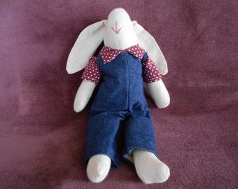 Stuffed bunny rabbit dolls in overalls,burgundy shirt w/ hearts,muslin,denim,vintage