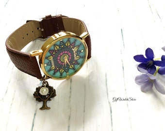 "Retro Leather Watch, Leather Wrap Watch, Leather Bracelet Watch, Wrist Watch, Brown Compass Leather Watch ""tree"" charm"