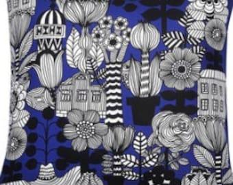 """Handmade Marimekko Blue Black White Lintukotonen pillow case, 18x18"""", Maija Louekari design, Finland"""
