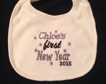 Baby's First NEW YEAR Bib OR Burp Cloth