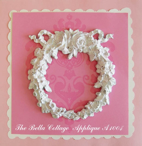 Shabby cottage chic furniture floral appliques wreath for Applique furniture decoration