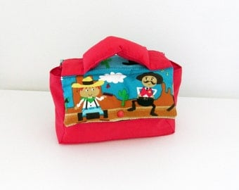 Children bag for snack or nursery Western / cowboys and red cotton