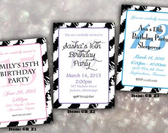 Teenage Girl Zebra Birthday Invitation; DIGITAL