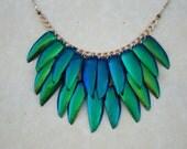 Jewel beetle necklace--2 layer, gradient
