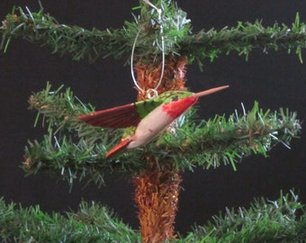 Hand Carved Wood Flying Hummingbird Ornament