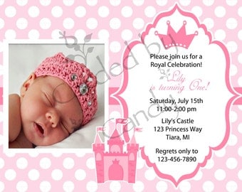 Little Princess 1st Birthday Party Invitation 5x7