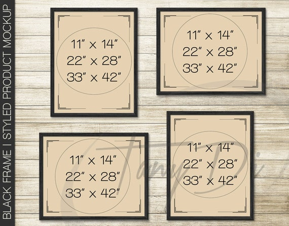11x14 set of 4 black wooden frames hanging on wall minimal style png psd