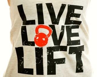 Live Love Lift Racerback, dark print on light tank