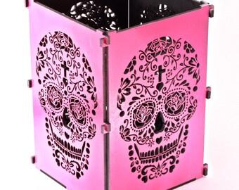 Sugar Skull, Hot Pink Sugar Skull Light Box, Candle Box, Candle Holder, Day Of the Dead, Dia De Los Muertos, Mexican Sugar Skull