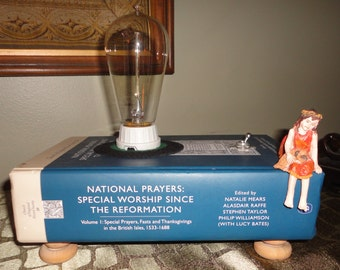 Book lamp with Fairy and Edison Bulb, Home Decor, Night Light, Accent Light
