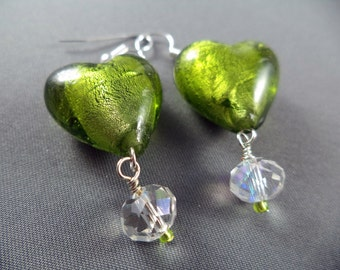 Green lampwork glass heart bead earrings with crystals