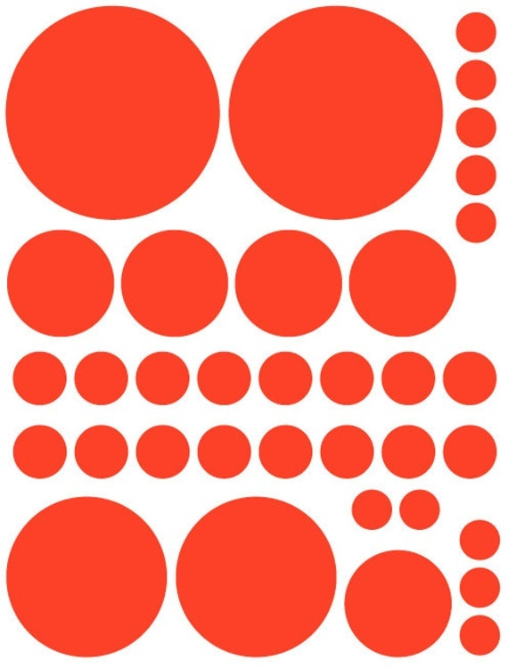 70 Red Vinyl Polka Dots Bedroom Wall Decals Stickers Teen Kids Baby Girl Nursery Dorm Room Removable Custom Made Easy to Install