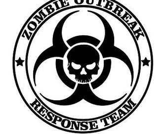 Zombie Outbreak Response Team Decal,  30 Colors to choose from Multiple Sizes, Zombie Decal, Zombie Sticker, Zombie Decal, Zombie Sticker