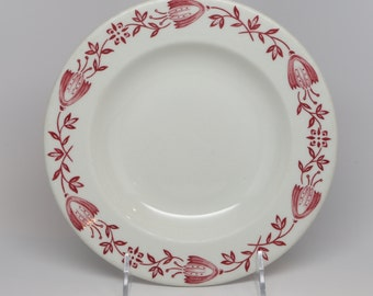 """1950's Shenango China New Castle, PA, Restaurant Ware Rimmed Soup, White, Red Floral Design on Boarder, 8"""" Top diameter by 1"""" High"""