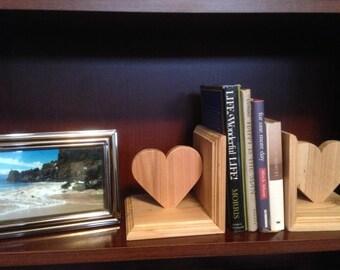 Heart Shape Cedar Book Ends