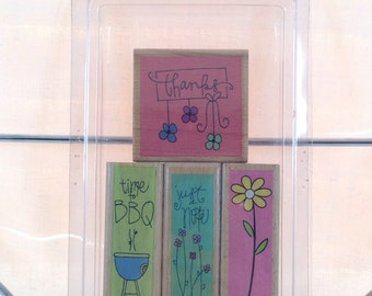 Studio G, 2007 Kolette Hall Rubber Stamps in Thanks, Time to BBQ, Just a Note and Flower