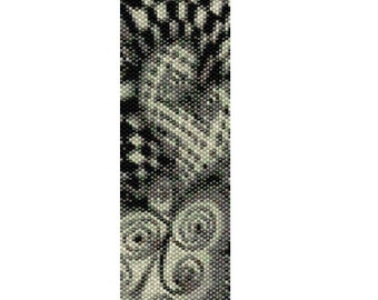 Peyote Bracelet Pattern Psychedelic Love Design Black & White